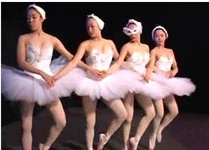 白鳥の湖を踊る女